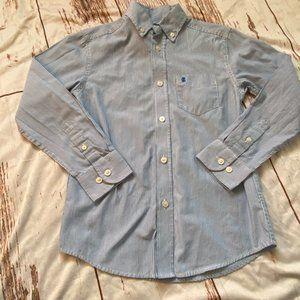 Izod boys button up striped shirt-blue-size 8